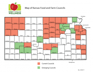 Map of Kansas Food and Farm Councils